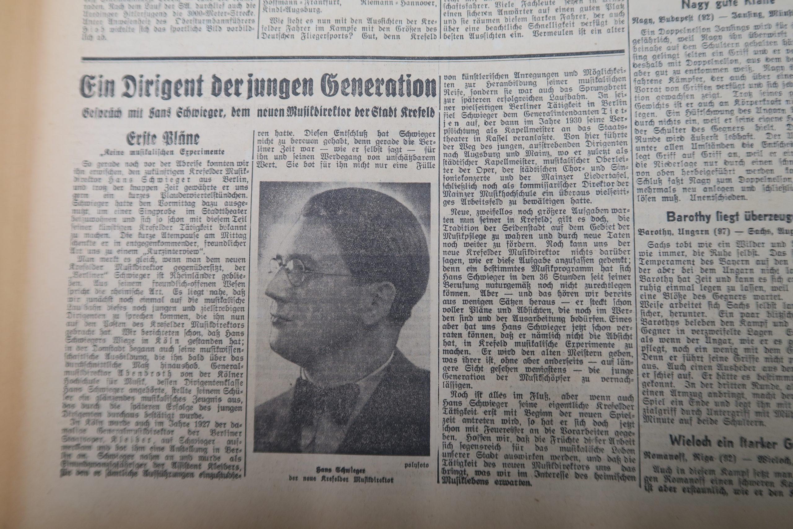 Der Dirigent – Hans Schweiger und Krefeld